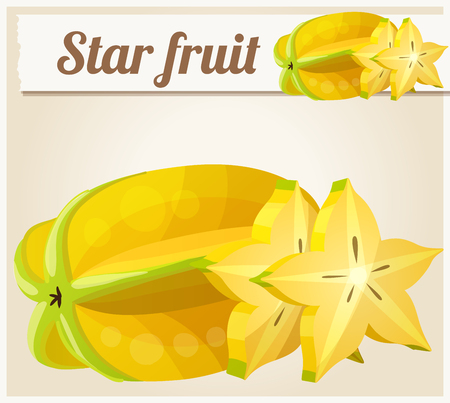 icon series: Star fruit ( Carambola ). Cartoon vector icon. Series of food and drink and ingredients for cooking. Illustration