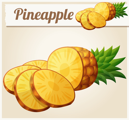 ananas: Pineapple (Ananas). Cartoon vector icon. Series of food and drink and ingredients for cooking.