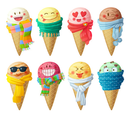 Set of cartoon vector icons isolated on white background. Ice cream scoops characters. Funny faces with scarf, smiling Vectores