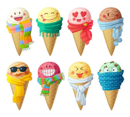 aliments droles: Ensemble de vecteur de dessin animé icônes isolé sur fond blanc. Crème glacée écopes caractères. Funny faces avec un foulard, sourire
