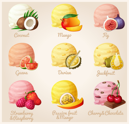 rasberry: Set of cartoon vector icons. Ice cream scoops with different fruit and berry flavors. Coconut, mango, fig, guava, durian, jackfruit, strawberry and raspberry, mango and passion fruit, cherry and chocolate. Part 3