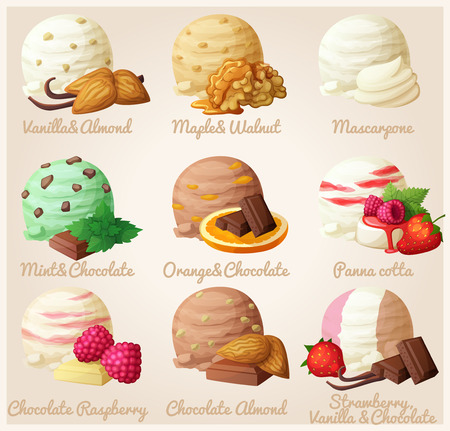 Set of cartoon vector icons. Ice cream scoops with different fruit and berry flavors. Vanilla, almond, maple, walnut, mascarpone, mint, chocolate, orange, panna cotta, raspberry. Part 4