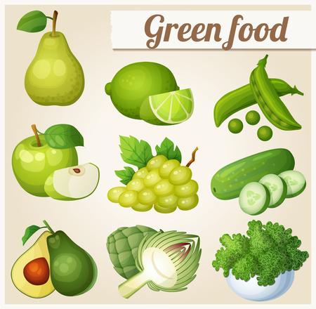 Set di icone di cibo dei cartoni animati. cibo verde. Pera, calce, piselli, mele, uva, cetrioli, avocado, carciofi, cavoli
