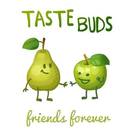 apple leaf: Green apple and pear with leaf characters.  Cartoon vector illustration. Cute print Taste buds Illustration