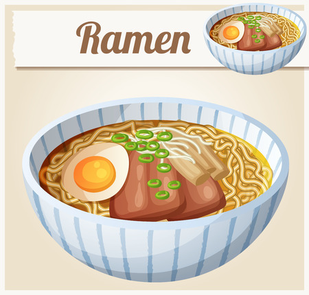 cooked instant noodle: Japanese ramen soup Cartoon icon. Series of food and drink and ingredients for cooking. Illustration