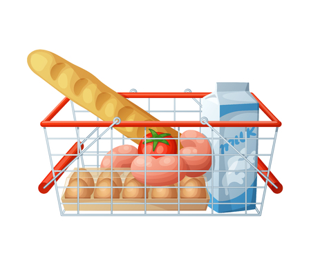 white bread: Minimal consumer basket isolated on white background. Cartoon illustration. Bread, sausages, milk, tomato, eggs