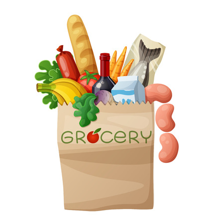 Grocery bag isolated on white background. Cartoon illustration. Bread, wine, sausages, fish, milk, banana, turnip, green, carrots, tomato