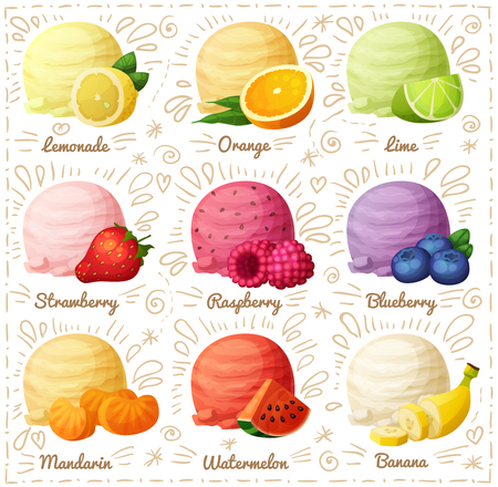rasberry: Set of cartoon icons isolated on white background. Ice cream scoops with different fruit and berry flavors. Lemon, orange, lime, strawberry, raspberry, blueberry, mandarine, watermelon, banana
