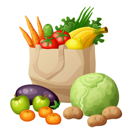 mandarine: Grocery bag isolated on white background. Fruits and vegetables: bananas, green, carrots, tomato, cabbage, potato, apples, mandarine, cucumber, eggplant, lemon, onion