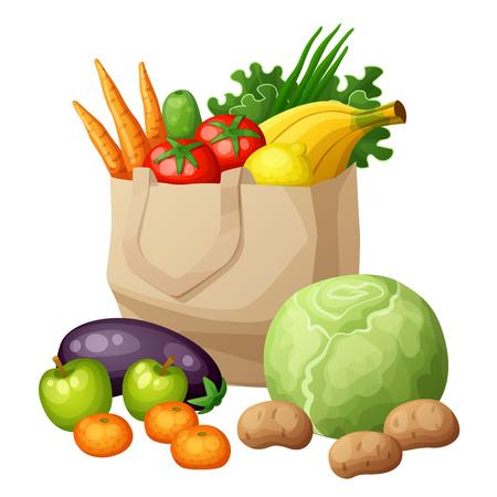 Grocery bag isolated on white background. Fruits and vegetables: bananas, green, carrots, tomato, cabbage, potato, apples, mandarine, cucumber, eggplant, lemon, onion