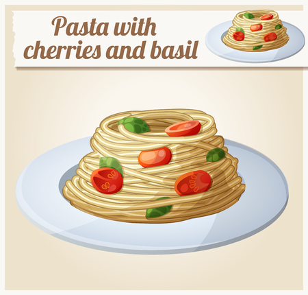 Spaghetti with tomato cherries and meatballs. Series of food and drink and ingredients for cooking.