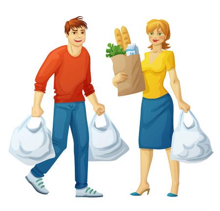 El hombre y la mujer con bolsas de la compra aislados en blanco backgound. Los dibujos animados en la ilustración shoping alimentos