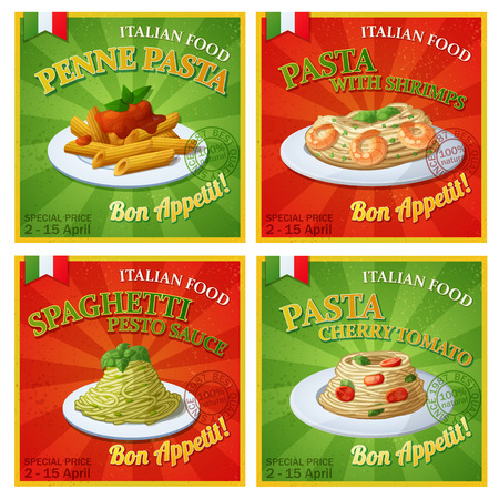 Set of Italian pasta posters. Cartoon illustration. Design templates of food banners.  イラスト・ベクター素材