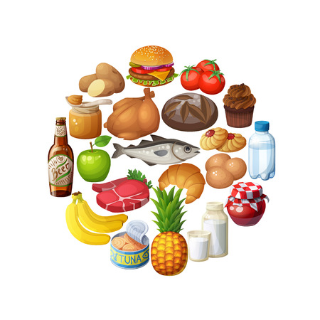 food stuff: Circle of food stuff isolated on white background Illustration