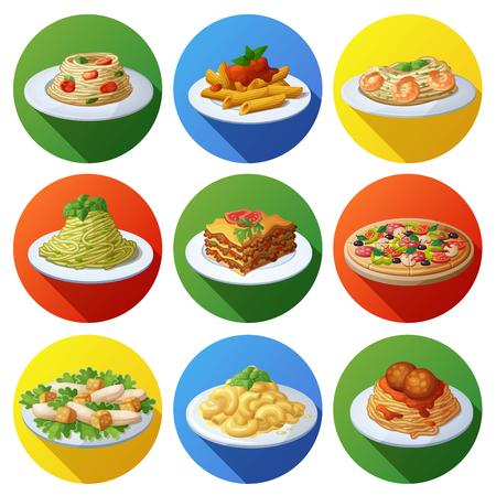 Conjunto de iconos de alimentos. Cocina italiana. Foto de archivo - 61590346