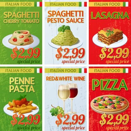 Set of Italian cuisine labels. Ilustracja