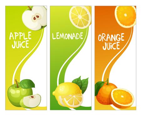 leon de dibujos animados: Tres banderas verticales con manzana, León y frutas de color naranja. ilustración de dibujos animados