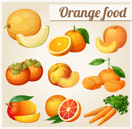 Set of cartoon food icons. Orange food.