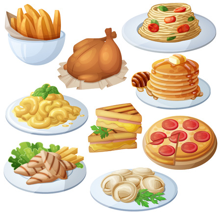 Set of food icons isolated on white background.