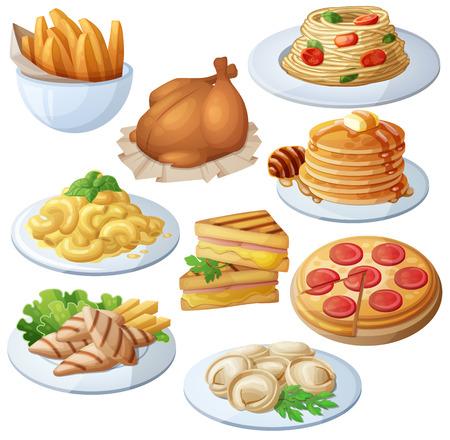 Zestaw ikon żywności samodzielnie na białym tle.