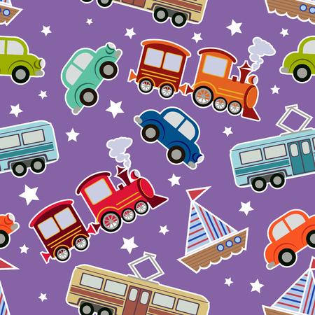 car ornament: Seamless kids transport toys background. Cartoon vector illustration for boys wit tram, train, boat, cars