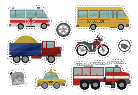car wheels: Cartoon kids car toys illustration. Flat vector icons of ambulance, school bus, truck, lorry, motorcycle, motorbike, drive wheels, canister with gasoline, fire engine