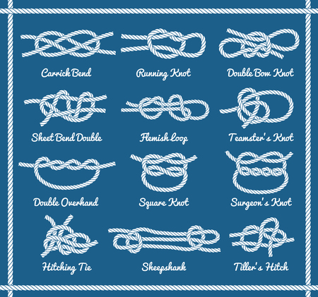 overhand: Set of rope knots, hitches, bows, bends. Decorative vector design. Part 2 of 3