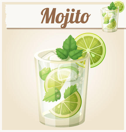 Mojito illustration. Cartoon vector icon. Series of food and drink and ingredients for cooking. Illustration