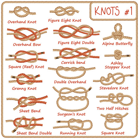 Set of rope knots, hitches, bows, bends isolated on white background. Decorative vector design. Part 1 of 3