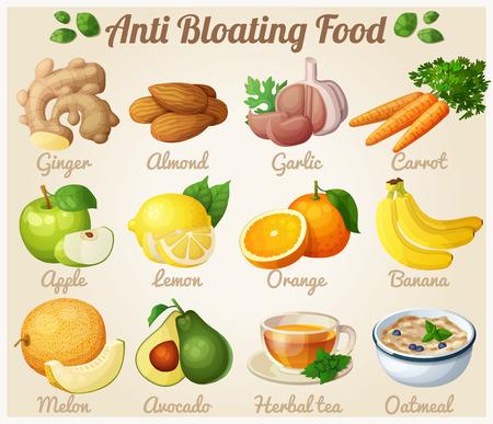 bloat: Set of cartoon food icons. Anti bloating food. Ginger, almond, garlic, carrot, apple, lemon, orange, banana, melon, avocado, tea, oatmeal