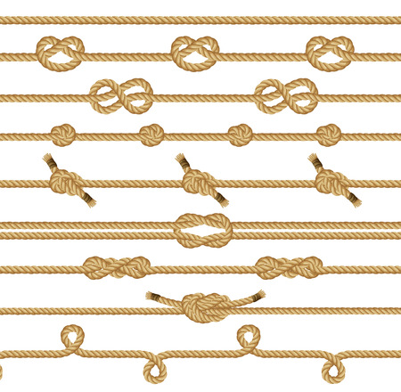 overhand: Rope knots collection. Seamless decorative elements. Vector illustration. Illustration