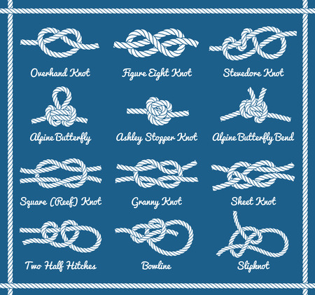 overhand: Set of rope knots, hitches, bows, bends. Decorative vector design. Part 1 of 3
