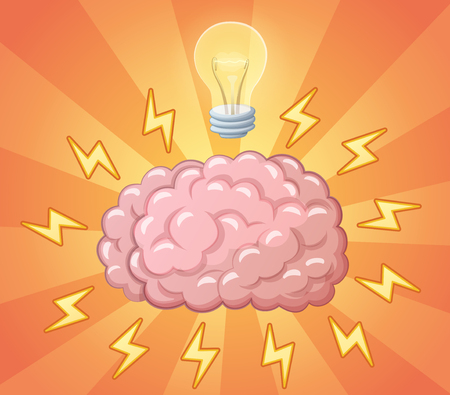 ligh: Brain and ligh bulb as idea, concept