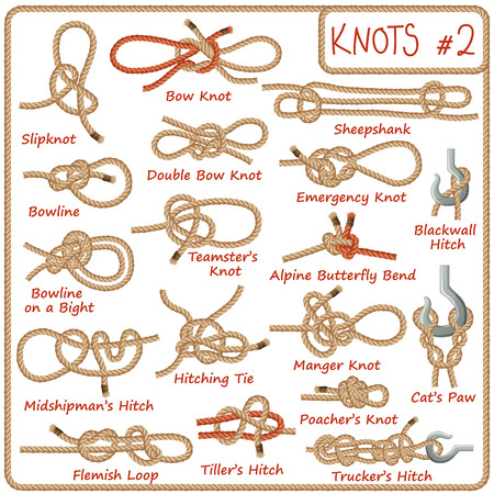 Set of rope knots, hitches, bows, bends isolated on white background. Decorative vector design. Part 2 of 3