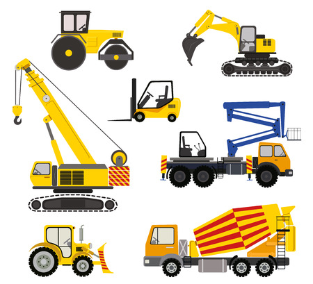 constraction: Cartoon road machinery illustration. Flat vector icons of constraction vehicles