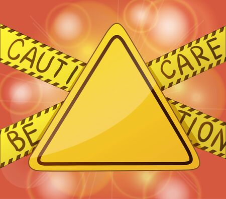 yellow beware: Caution warning yellow sign without text and symbols. Cartoon vector illustration. Illustration