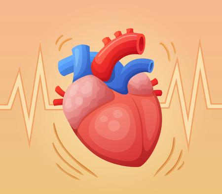 Batimento cardíaco. Ilustração em vetor dos desenhos animados