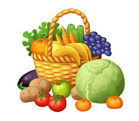 Las frutas y verduras en la cesta. ilustración vectorial de dibujos animados aislado en el fondo blanco Vectores