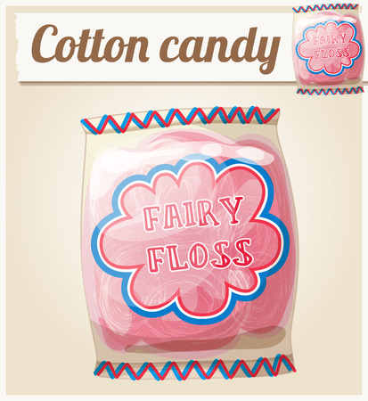 spun sugar: Cotton candy (Fairy floss) in a bag. Cartoon vector icon. Series of food and ingredients for cooking.