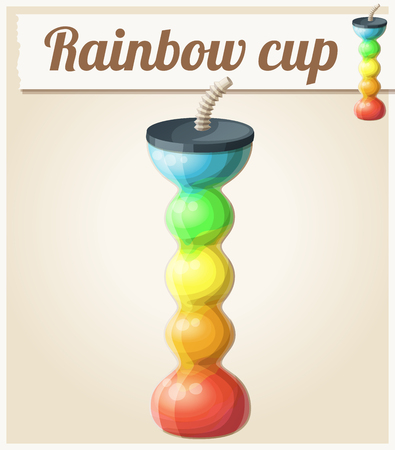 slush: Rainbow ice cup (Frozen drink) unusual shape. Cartoon vector icon. Series of food and ingredients for cooking.