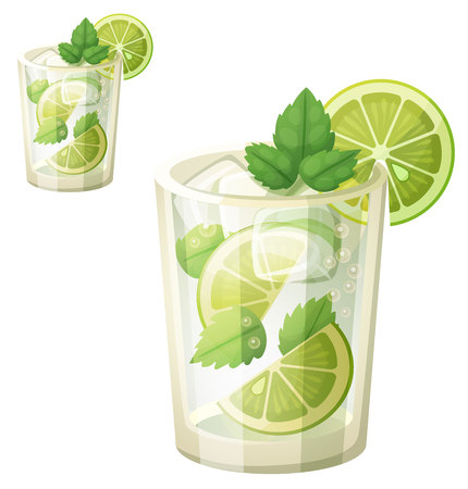 Mojito illustration. Cartoon vector icon isolated on white background. Series of food and drink and ingredients for cooking.