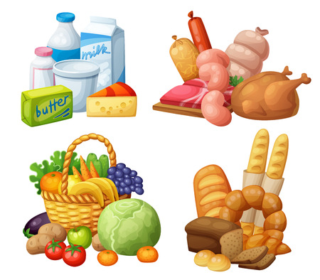 Natural supermarket food sets: Dairy products, Meat sausages chicken, Grocery fruits and vegetables, Bakery. Cartoon vector illustration. Stok Fotoğraf - 68842150