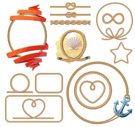 Rope knotes and frames set. Cartoon vector illustration isolated on white background