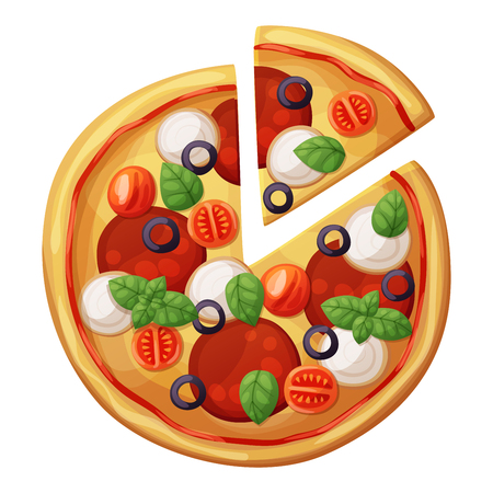 Pizza top view. Cherry tomato, sausages or salami, mozarella, olives, basil leaves. Cartoon vector food illustration isolated on white background. American and Italian fast food pizza 免版税图像 - 68842156