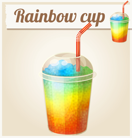 Rainbow ice cup (Frozen drink). Cartoon vector icon. Series of food and ingredients for cooking. Stock Illustratie