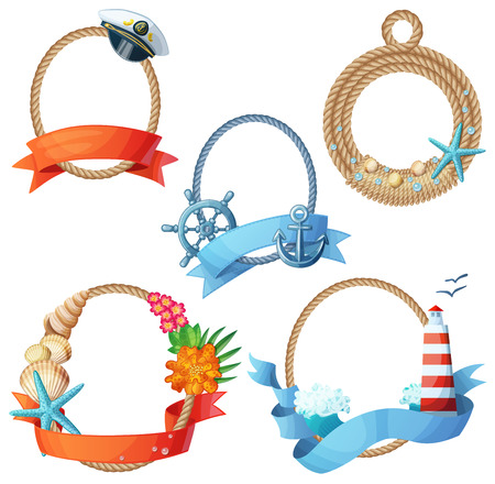 Set of sea frames. Ropes with anchors, seashells, seastars, ship wheels. Cartoon vector illustration isolated on white background