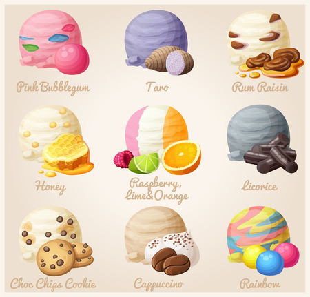 Set of cartoon vector icons. Ice cream scoops with different fruit and berry flavors. Pink Bubblegum, Taro, Rum Raisin, Honey, Licorice, Chic Chop Cookie, Cappuccino, Rainbow. Part 6