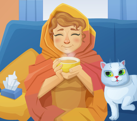 frail: A sick cold woman f with a cup of hot tea sitting on the sofa with a white cat. Cartoon vector illustration