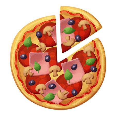 Pizza with sausages, ham, muchrooms, olives. Top view Illustration