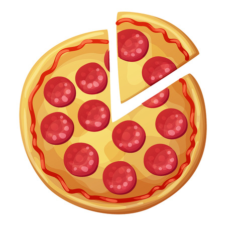 Pepperoni pizza with sausages top view. Cartoon vector food illustration isolated on white background